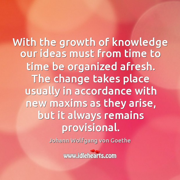 With the growth of knowledge our ideas must from time to time Image
