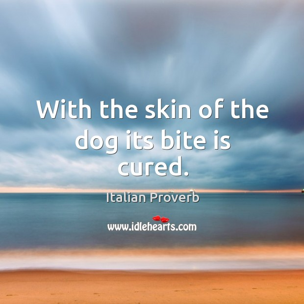 With the skin of the dog its bite is cured. Image