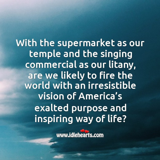 With the supermarket as our temple and the singing commercial as our litany Image