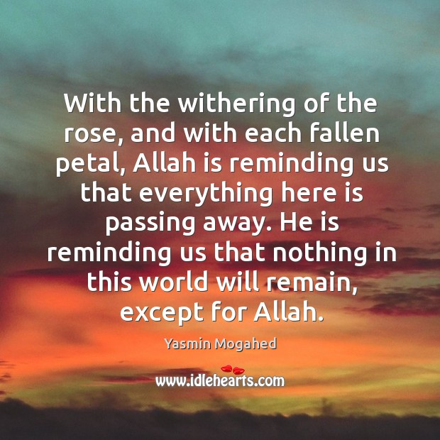 Image, With the withering of the rose, and with each fallen petal, Allah