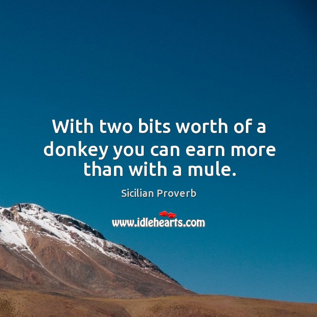 With two bits worth of a donkey you can earn more than with a mule. Image
