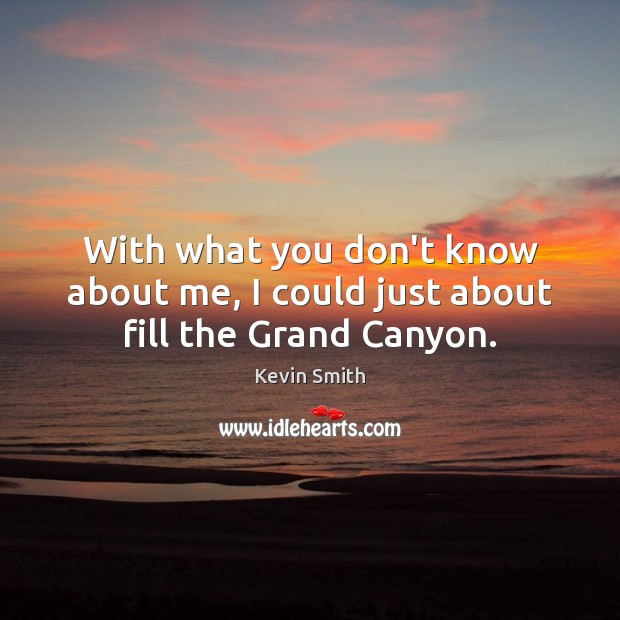 With what you don't know about me, I could just about fill the Grand Canyon. Kevin Smith Picture Quote