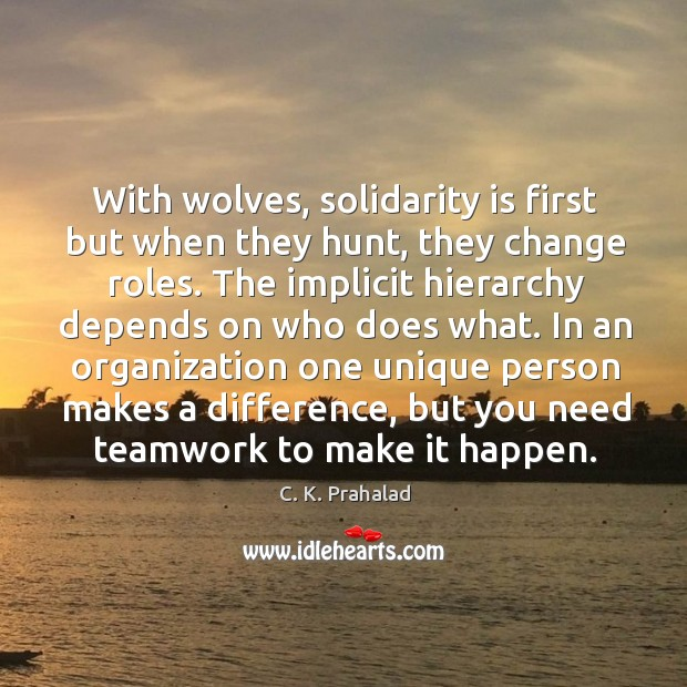 Image, With wolves, solidarity is first but when they hunt, they change roles.