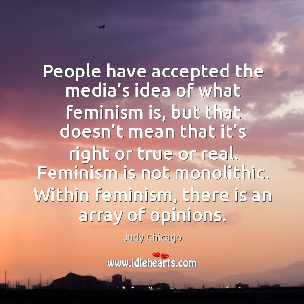 Within feminism, there is an array of opinions. Image