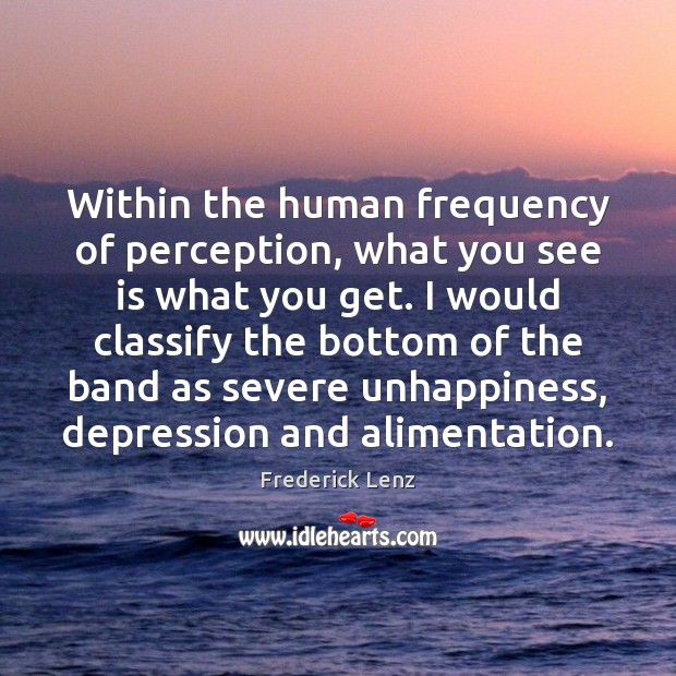 Within the human frequency of perception, what you see is what you Image