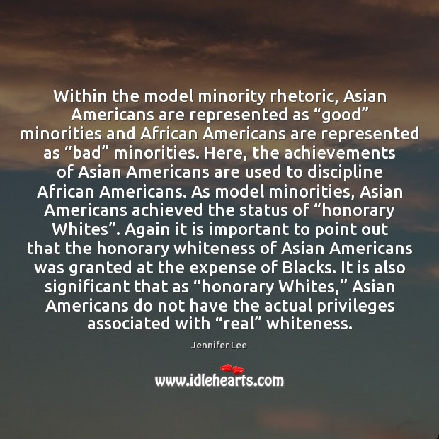 "Image, Within the model minority rhetoric, Asian Americans are represented as ""good"" minorities"