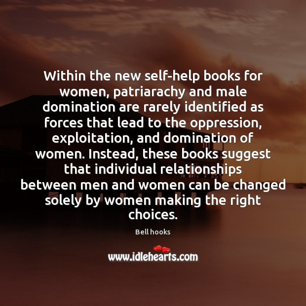 Image, Within the new self-help books for women, patriarachy and male domination are
