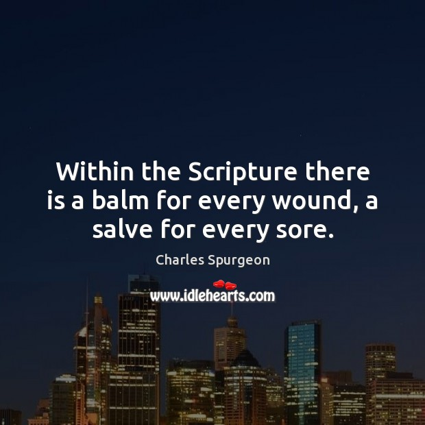 Within the Scripture there is a balm for every wound, a salve for every sore. Image
