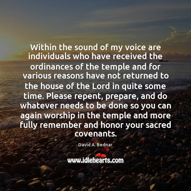 Within the sound of my voice are individuals who have received the David A. Bednar Picture Quote