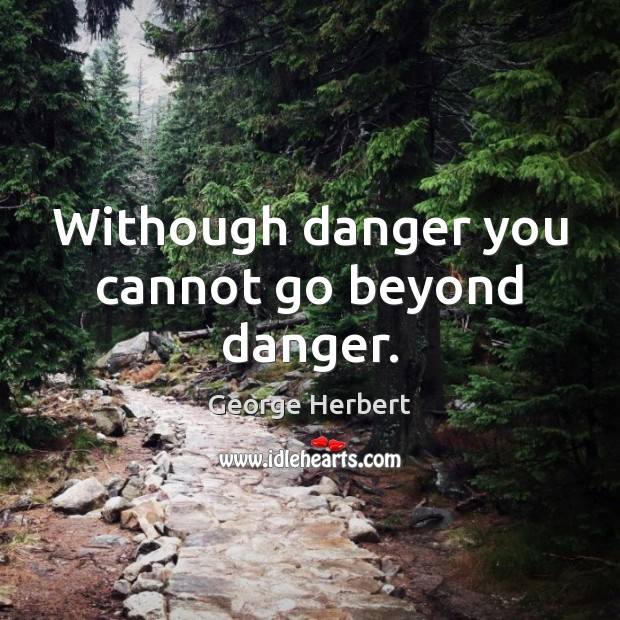 Withough danger you cannot go beyond danger. Image