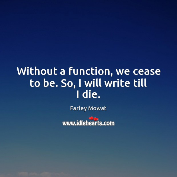 Image, Without a function, we cease to be. So, I will write till I die.