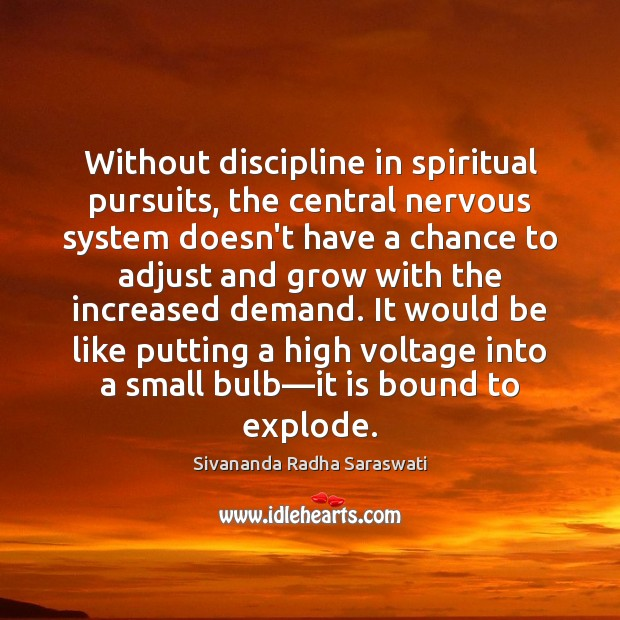Without discipline in spiritual pursuits, the central nervous system doesn't have a Image