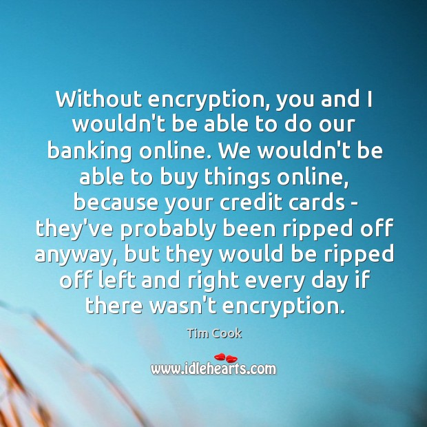 Without encryption, you and I wouldn't be able to do our banking Image
