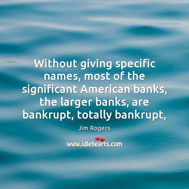 Without giving specific names, most of the significant American banks, the larger Jim Rogers Picture Quote