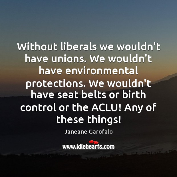 Without liberals we wouldn't have unions. We wouldn't have environmental protections. We Janeane Garofalo Picture Quote