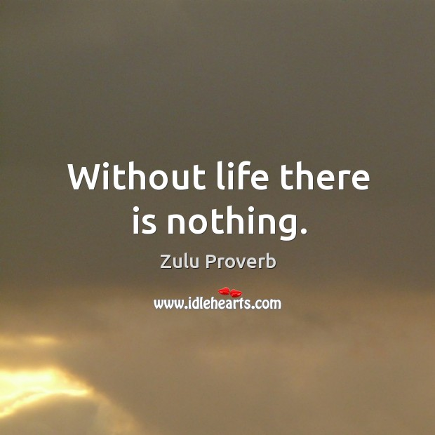 Without life there is nothing. Zulu Proverbs Image