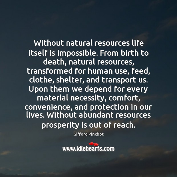 Without natural resources life itself is impossible. From birth to death, natural Gifford Pinchot Picture Quote