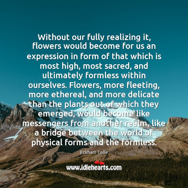 Without our fully realizing it, flowers would become for us an expression Image
