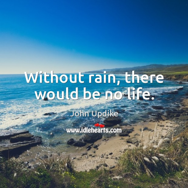 Without rain, there would be no life. John Updike Picture Quote
