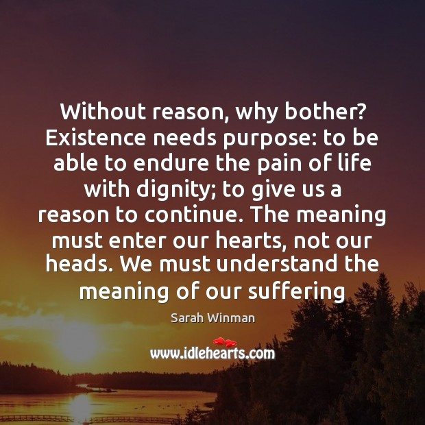 Without reason, why bother? Existence needs purpose: to be able to endure Image