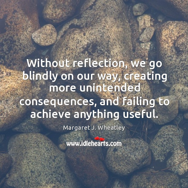 Without reflection, we go blindly on our way Margaret J. Wheatley Picture Quote