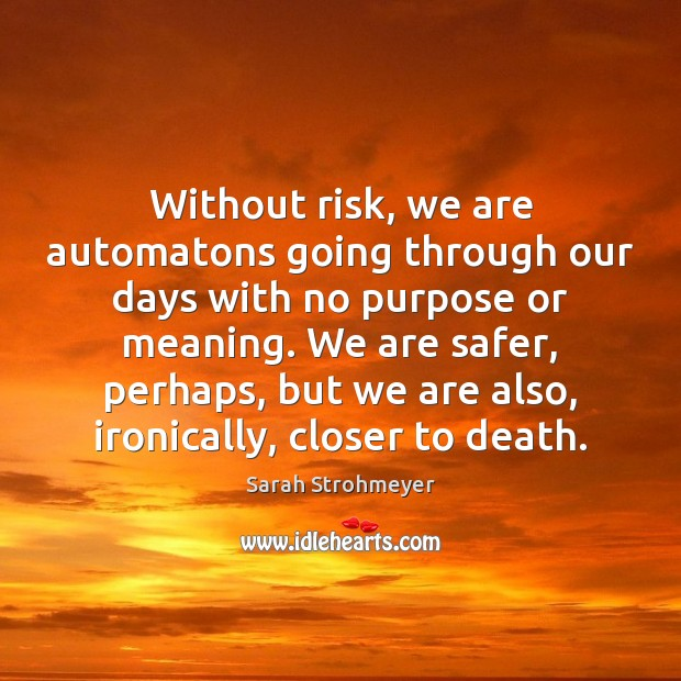 Without risk, we are automatons going through our days with no purpose Image