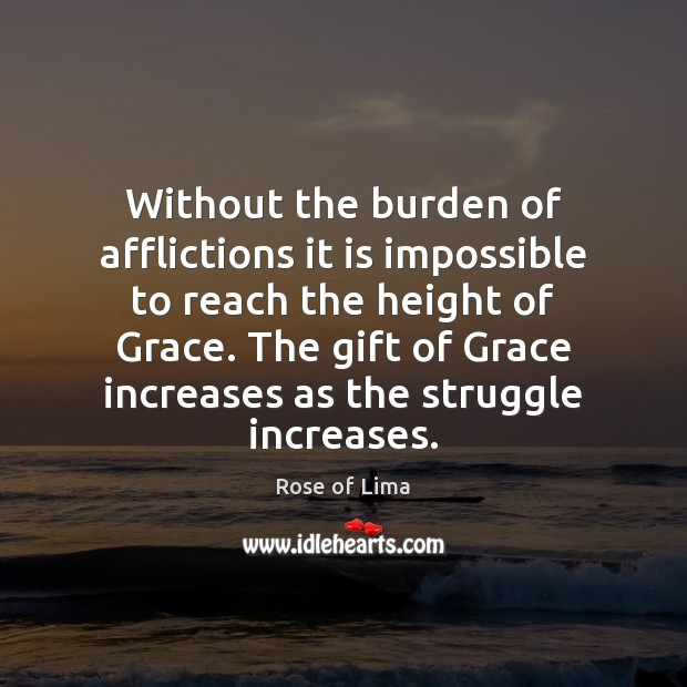 Without the burden of afflictions it is impossible to reach the height Image