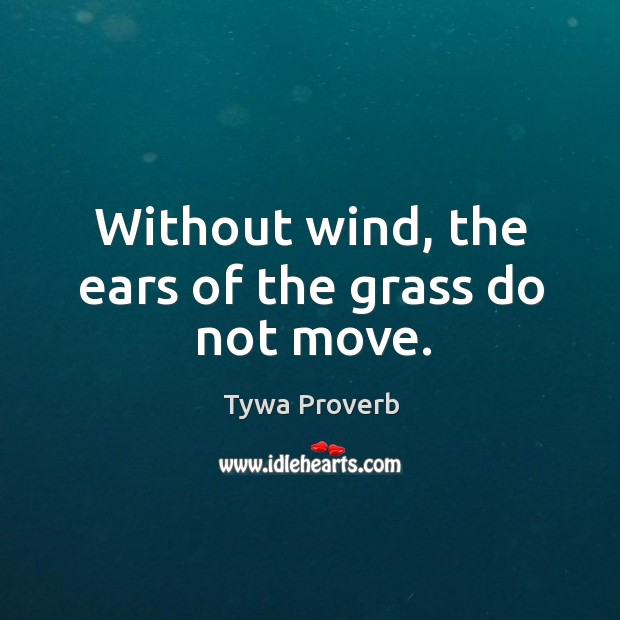 Without wind, the ears of the grass do not move. Tywa Proverbs Image