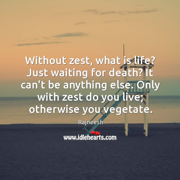 Without zest, what is life? Just waiting for death? It can't be Image