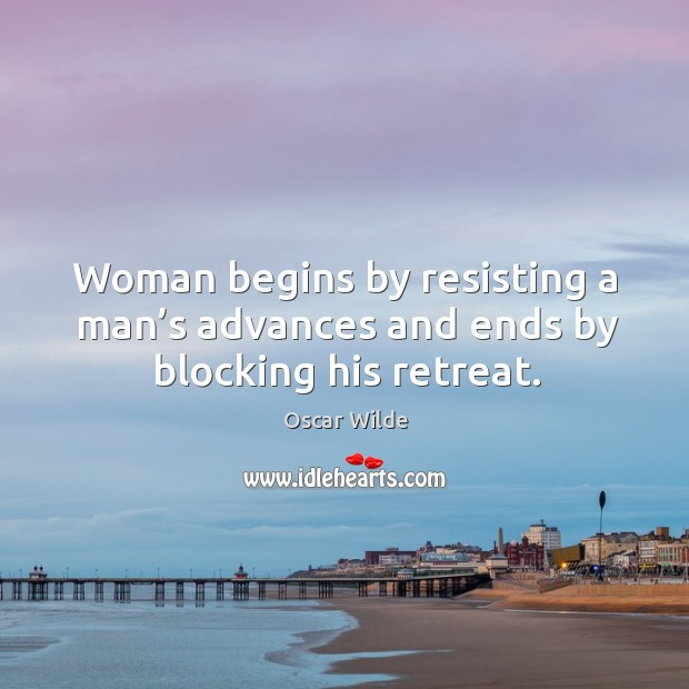 Image, Woman begins by resisting a man's advances and ends by blocking his retreat.