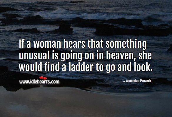 Image, If a woman hears that something unusual is going on in heaven, she would find a ladder to go and look.