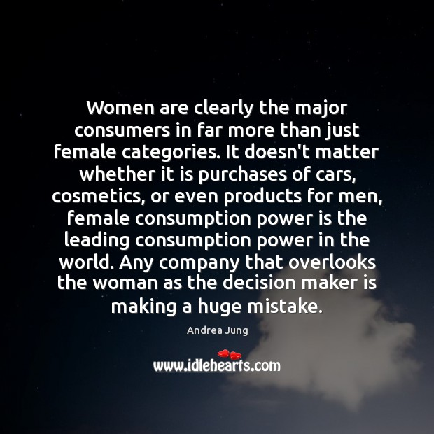 Image, Women are clearly the major consumers in far more than just female
