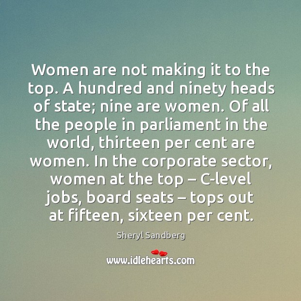 Women are not making it to the top. A hundred and ninety heads of state; nine are women. Image