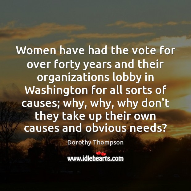Women have had the vote for over forty years and their organizations Dorothy Thompson Picture Quote