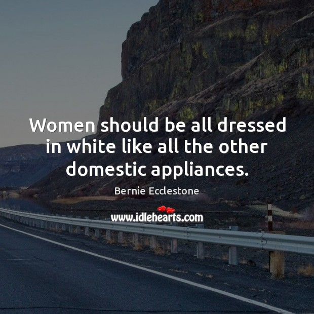 Image, Women should be all dressed in white like all the other domestic appliances.