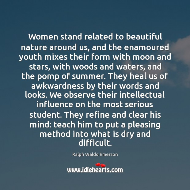 Women stand related to beautiful nature around us, and the enamoured youth Image