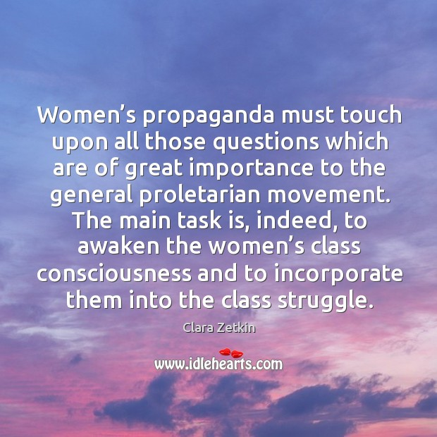 Image, Women's propaganda must touch upon all those questions which are of great importance