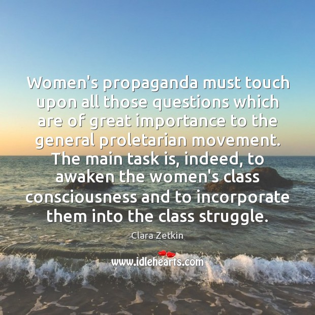 Image, Women's propaganda must touch upon all those questions which are of great