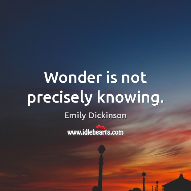 Wonder is not precisely knowing. Emily Dickinson Picture Quote