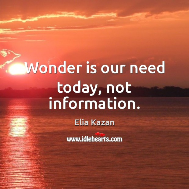 Wonder is our need today, not information. Elia Kazan Picture Quote