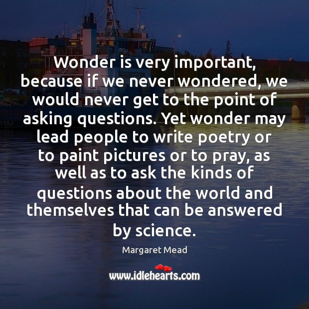 Wonder is very important, because if we never wondered, we would never Margaret Mead Picture Quote