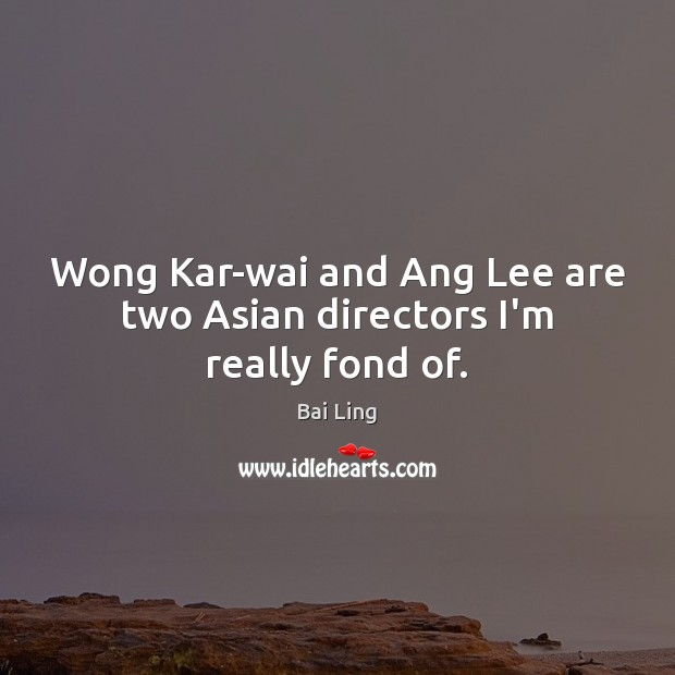Image, Wong Kar-wai and Ang Lee are two Asian directors I'm really fond of.