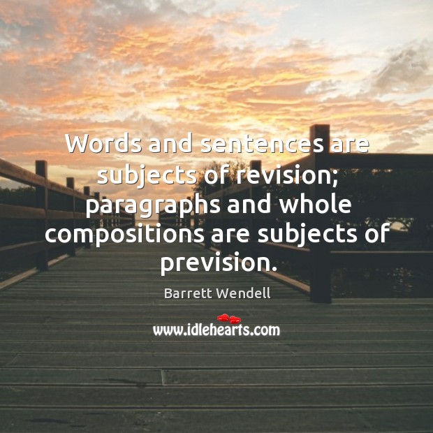 Image, Words and sentences are subjects of revision; paragraphs and whole compositions are subjects of prevision.
