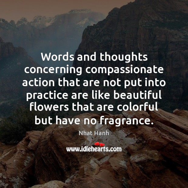 Image, Words and thoughts concerning compassionate action that are not put into practice