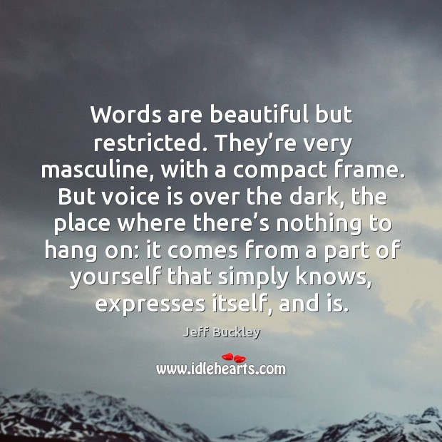 Words are beautiful but restricted. They're very masculine, with a compact frame. Image