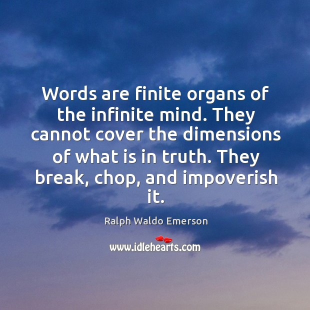 Words are finite organs of the infinite mind. They cannot cover the Image