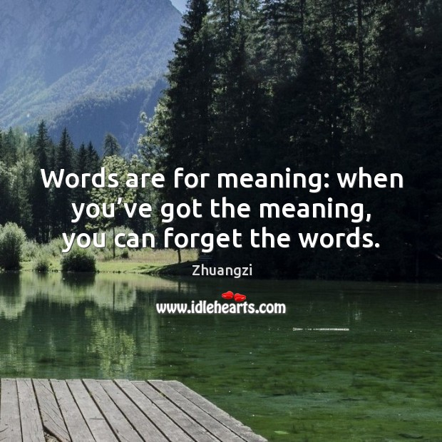 Words are for meaning: when you've got the meaning, you can forget the words. Image