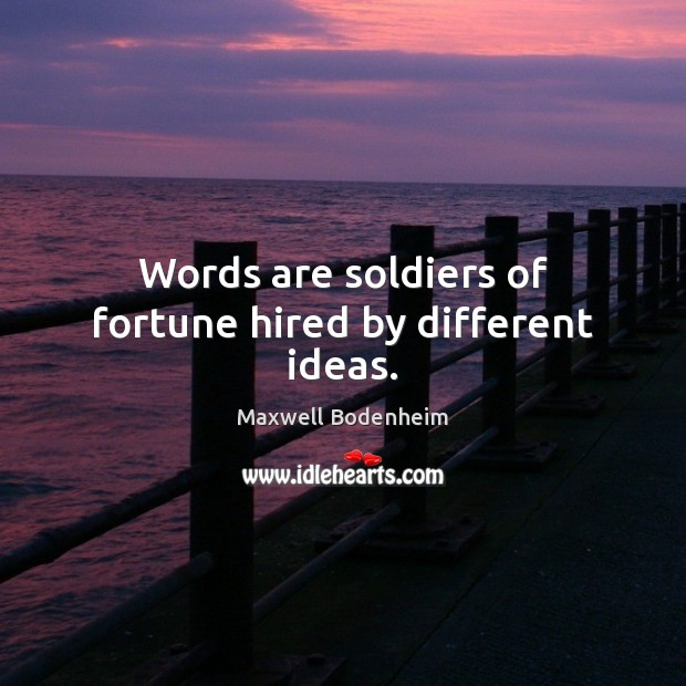 Words are soldiers of fortune hired by different ideas. Image