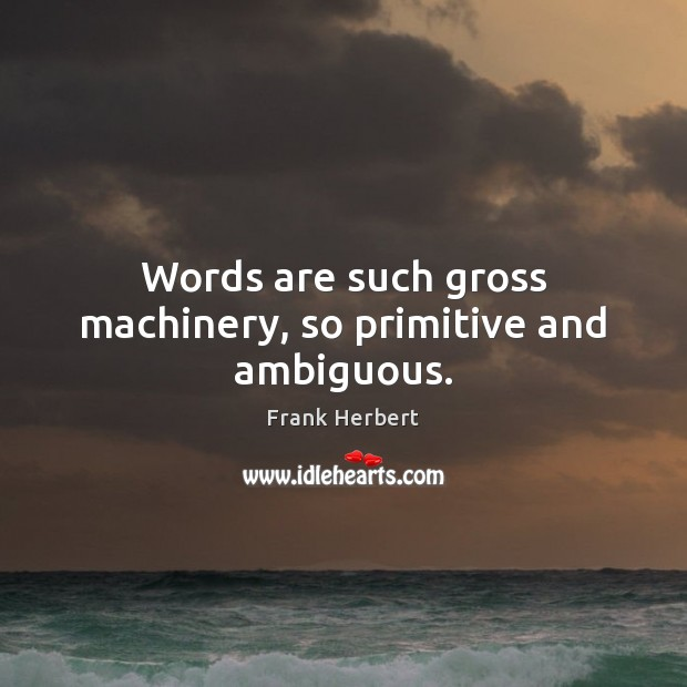 Image, Words are such gross machinery, so primitive and ambiguous.