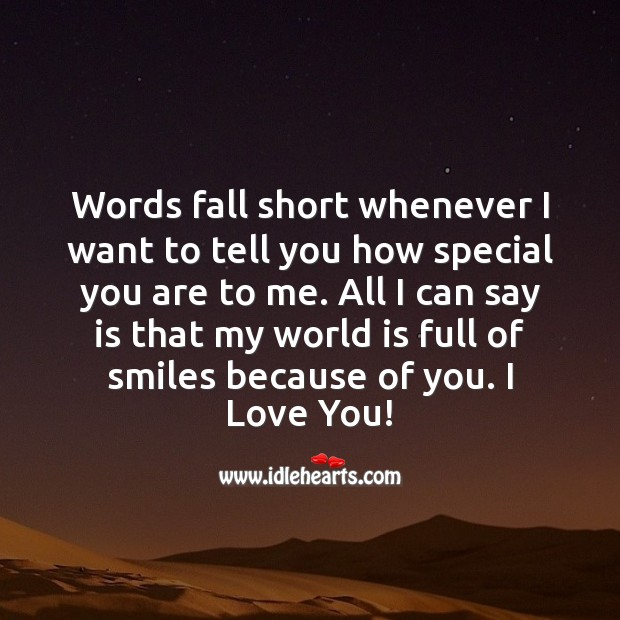 Words fall short whenever I want to tell you how special you are to me. I Love You Quotes Image